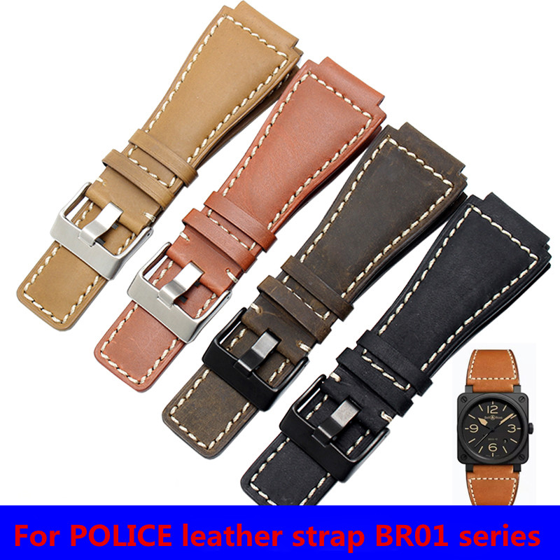 The Latest Leather Strap For Bell Ross AVIATION BR01  BR03 First Layer Of Leather 35mmx25mm Watch Accessories