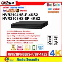 Dahua Grabadora de vídeo NVR 4K NVR2108HS 8P 4KS2 8POE 8CH NVR2104HS P 4KS2 4POE 4CH H.265 H.264, resolución de hasta 8Mp, P2P Max 80mbps