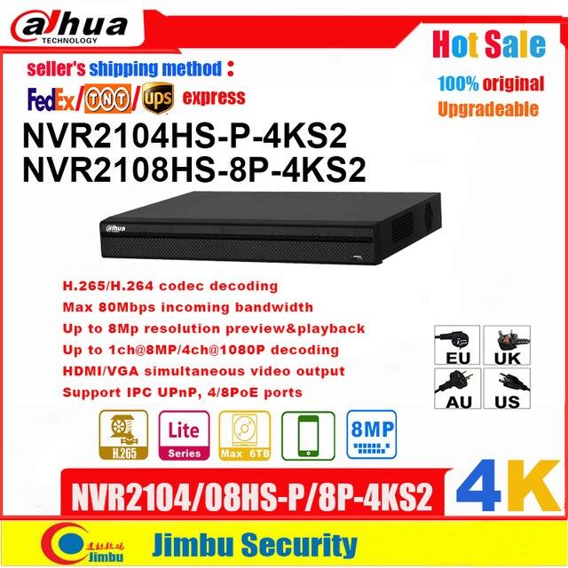大華nvr 4 18k NVR2108HS 8P 4KS2 8POE 8CH NVR2104HS P 4KS2 4POE 4CH H.265 H.264ビデオレコーダーまで8Mp解像度P2P最大80mbps