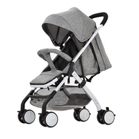 Airplane Baby Stroller One Step Fold Lightweight Convertible Baby Carriage with 5 Point Safety Harness Seat