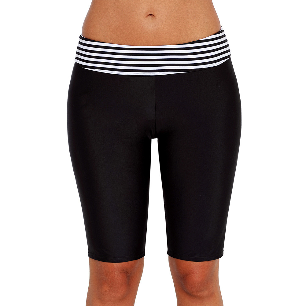 Black And White Stripes Sports Shorts Yoga Pants Women's 2019 New Style High-waisted Swimming Trunks Boxers Beach Boxers