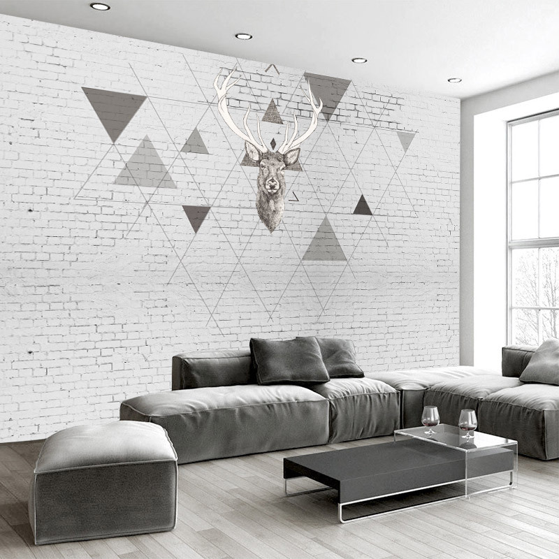 Northern European-Style Wallpaper Geometry TV Background Wallpaper European Style Sofa Hand-Painted White Brick Wall Elk Customi