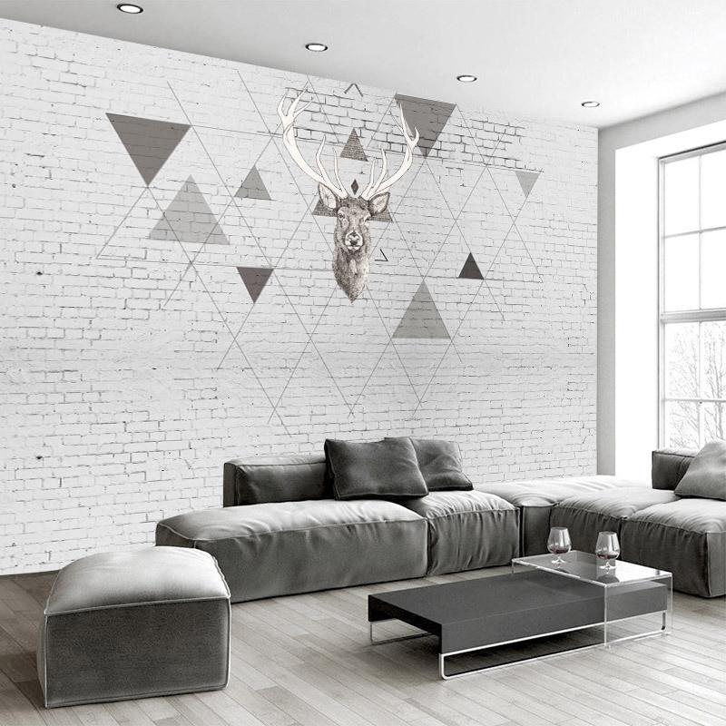 Northern European-Style Wallpaper Geometry TV Background Wallpaper European Style Sofa Hand-Painted White Brick Wall Elk Customi