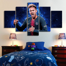 5 Pieces Paris Saint-Germain Neymar Posters Canvas Paintings Brazil Football Stars Wall Art Sports Print Picture Kids Room Decor цена