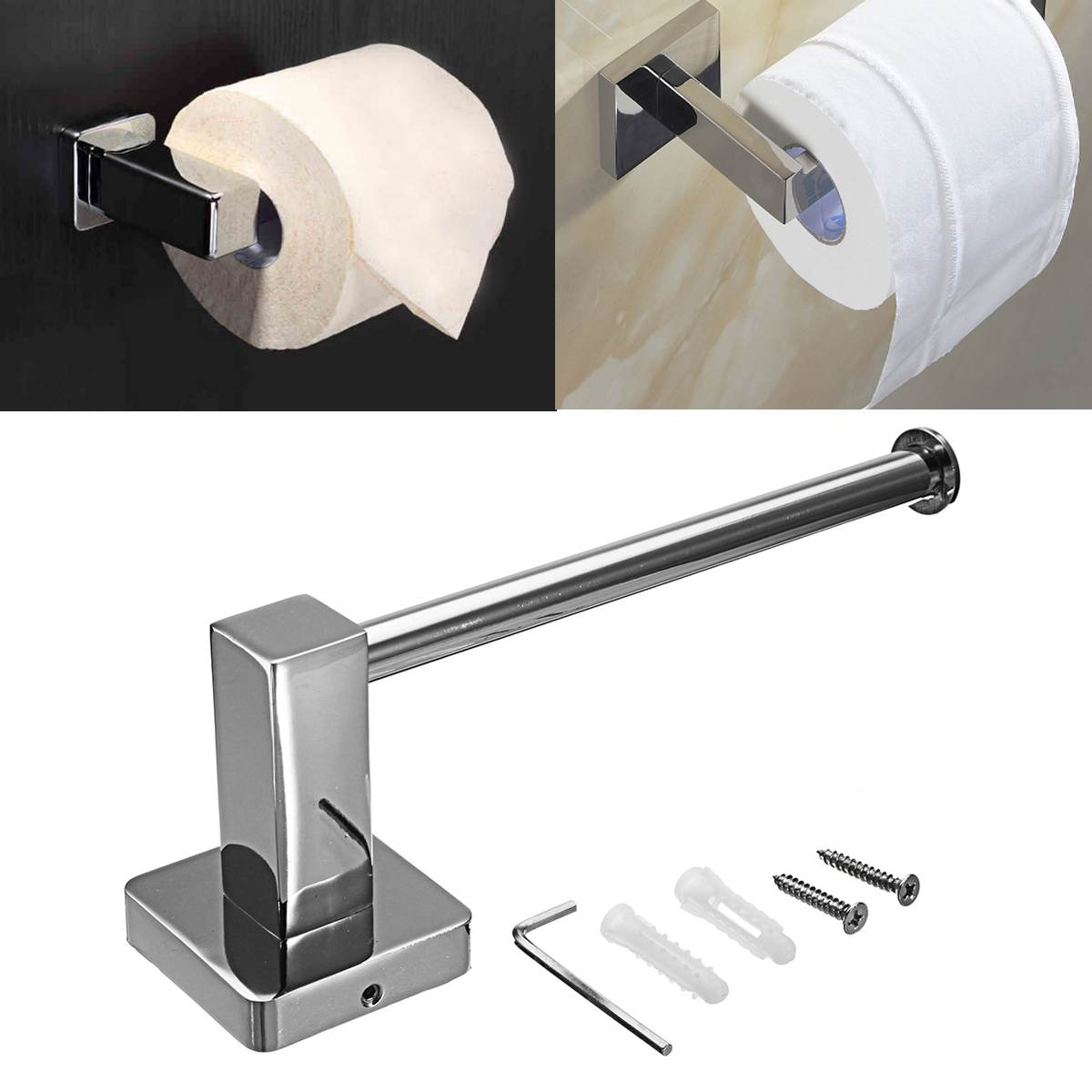 Wall Mount Toilet Paper Holder Stainless Steel Bathroom Kitchen Roll Paper Tissue Towel Rack Holders Bathroom Self Adhesive