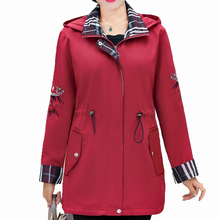 Autumn Woman Hooded Jacket Red Pink Navy Blue Outerwear With Hood Flower Bird Embroidery Sleeve Zipper Front Basic Coats Women цена и фото