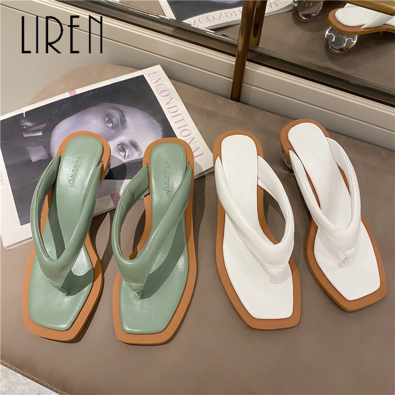 Comfortable Women's Slippers Summer Ladies Sandals Slides Clip Toe Clear Transparent Round High Heels Slippers Dress Shoes Woman