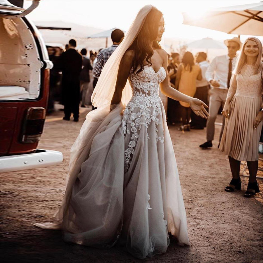 Sheer Lace  Applique Wedding Dresses Strapless 1