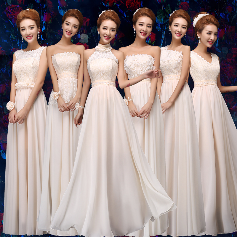 Long Chiffon Dress Bridesmaid Plus Size Elegant Dress For Wedding Party For Woman One Shoulder Champagne Sexy Prom Dress Vestido