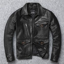 YR!Free shipping.Pakistan leather.Brand Luxury vintage brakeman style tanning sheepskin jacket,men slim genuine leather coat