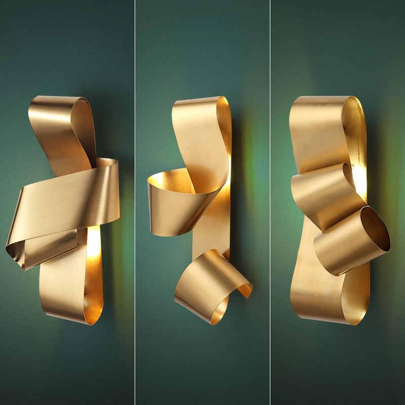 Lampe murale dorée de luxe, lampe de chevet, pour salon, chambre à coucher, lampe de chevet, nordique moderne et minimaliste, pour couloir, collection 2020