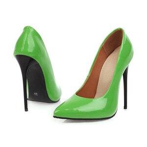 Image 3 - Zapatos de tacón alto para mujer, calzado de tacón fino, verde, rojo y amarillo, zapatos de fiesta, zapatos de oficina boda, talla grande 45, 2020