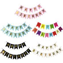 С Днем Рождения Баннеры-Декорации для вечеринки Бумажная гирлянда баннеры флаги с днем рождения баннер для вечеринки в честь Дня рождения поставки Декор