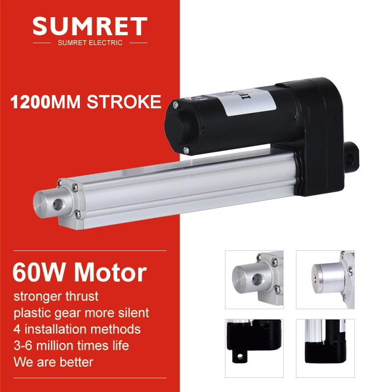 electric linear actuator 1200mm 48inch stroke micro telescopic Push rod  lift putter 2500N 60W DC 24V 12V