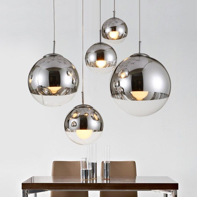 Modern led chandelier lighting Gold Silver Mirror Ball Hanglamp Globe Glass Led Lamp Kitchen Living Room Bedroom Nordic Lamp