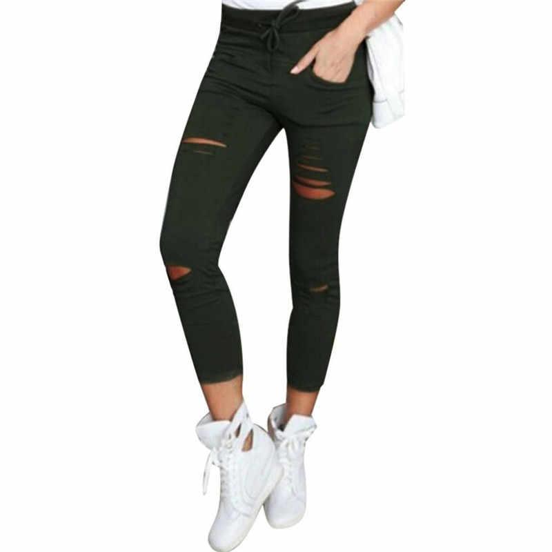 2019 pantalones vaqueros ajustados de cintura alta para novio de moda para mujeres calientes con agujeros Vintage para chicas pantalones vaqueros rasgados delgados de mezclilla