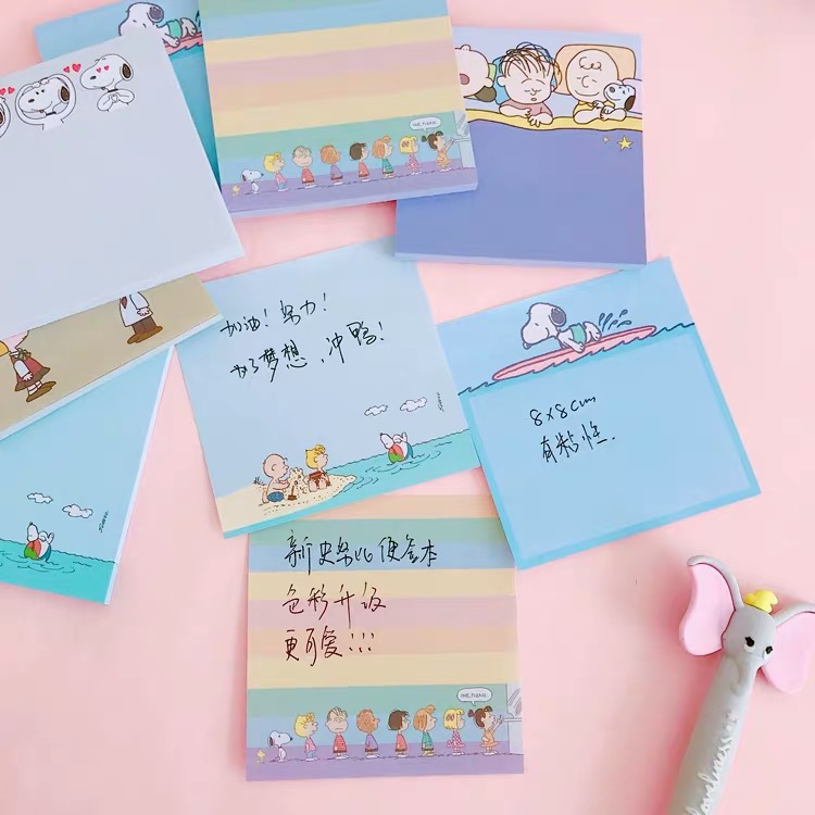 50sheets Peanuts Snoopy Cartoon Kawaii Memo Pads Sticky Note N Times Sticker Note Paper Message Book Stationery Notebook Office