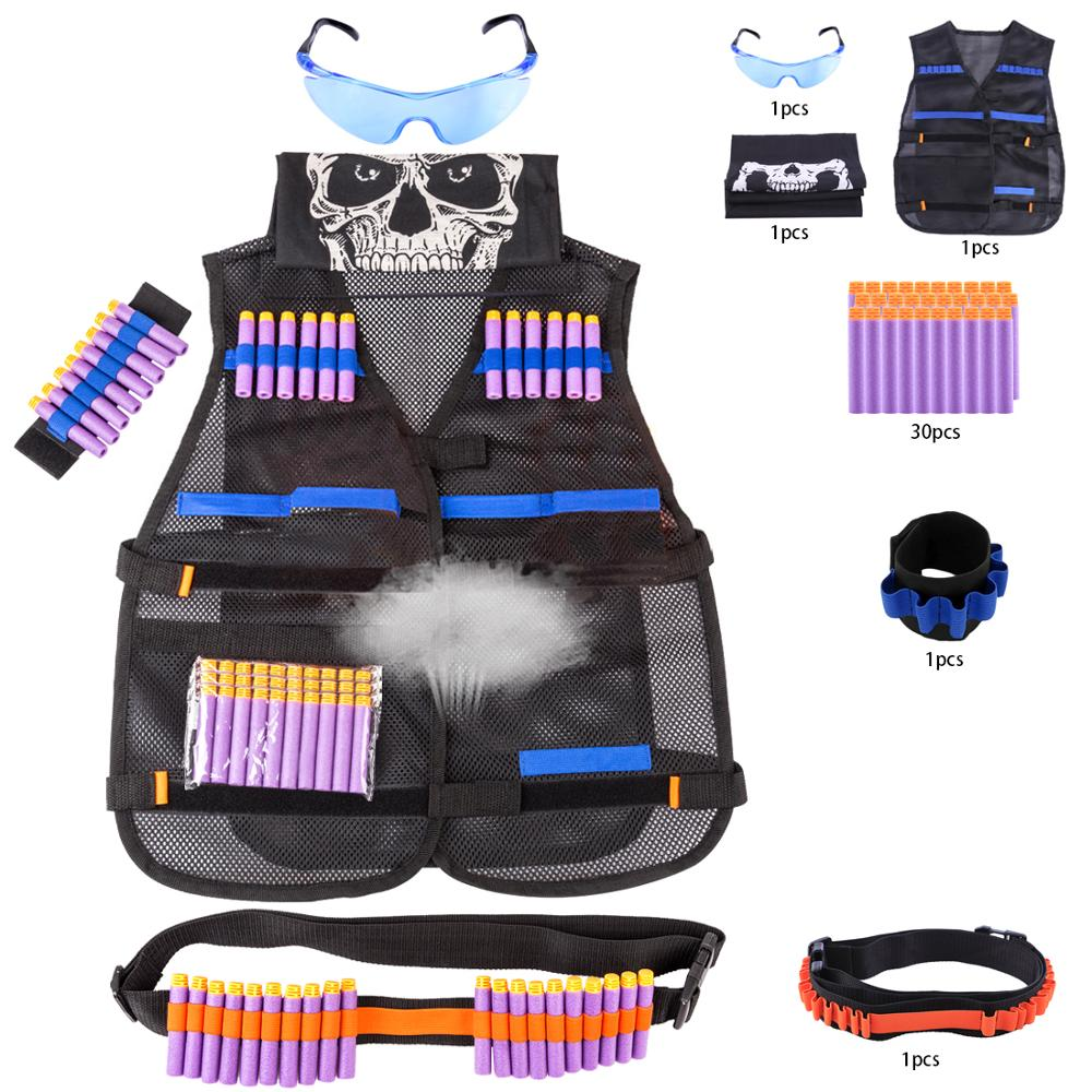 Classic Breathable Mesh Children Soft Tactical  Kit With 30 Rounds Soft Bullets Clips Glasses  Belt For Nerf N-strike Elite