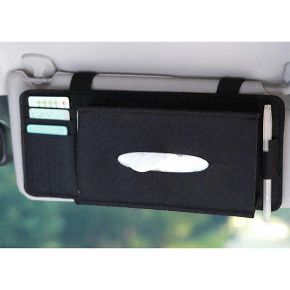 Hot New Car Styling Case Car Napkin Holder Sun Visor Type Wool Felt Hanging Tissue Box Pocket Organizer Pouch Card Storage