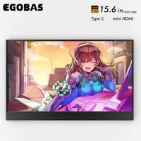 EGOBAS Portable Monitor 15.6 Touch Screen 1080P LCD Ultrathin External Secondary Display for PC Mac Laptop Phone Switch Xbox PS4