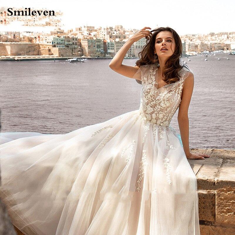 Smileven Bohemian Wedding Dress A Line Sexy V Neck Appliqued Lace Bridal Dresses Backless Vestido De Noiva Custom Made