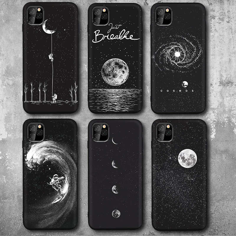 Nieuwe Ruimte Astronaut Telefoon Gevallen Voor Iphone 7 6 S 8 Plus Xr Case Voor Iphone 11 Pro Max X xs Case Planet Star Frosted Soft Back