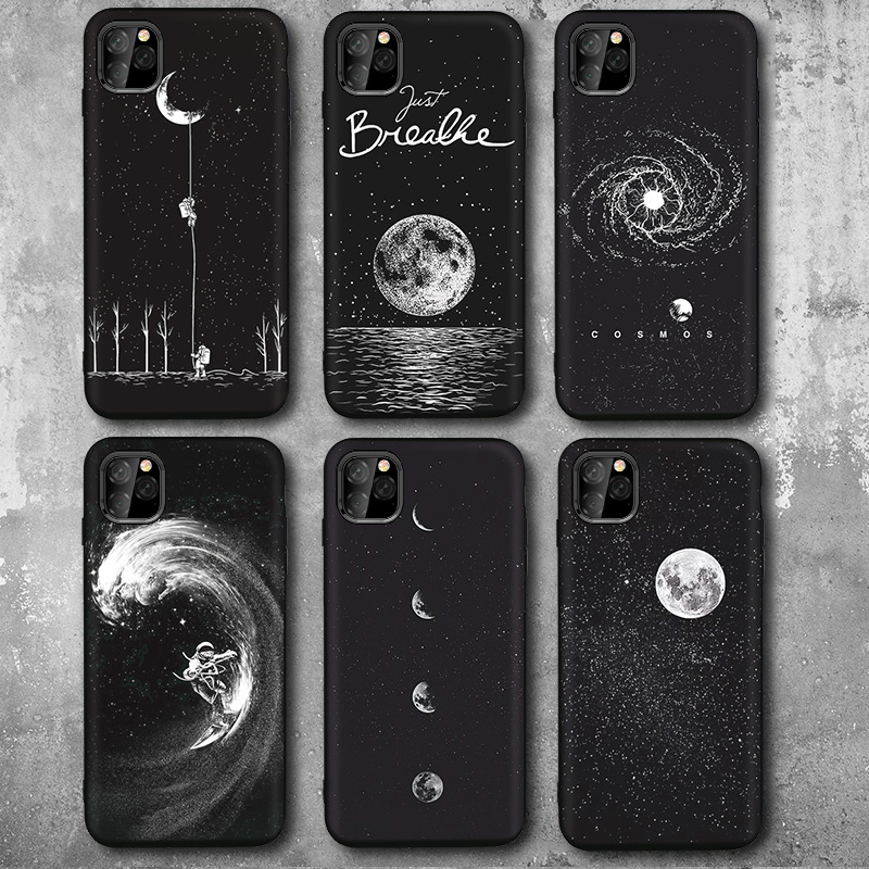 New Space Astronaut Phone Cases For iPhone 7 6s 8 Plus XR Case For iphone 11 Pro Max X XS case Planet Star Frosted Soft Back