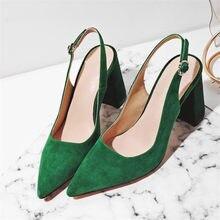 Meotina — Escarpins en daim pour femmes, chaussures à talons hauts carrés en cuir véritable, avec boucle à bout pointu, taille 34 à 42