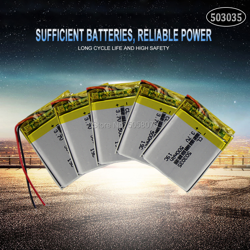 5pcs <font><b>503035</b></font> <font><b>3.7V</b></font> <font><b>500mAh</b></font> Lithium Polymer <font><b>Battery</b></font> <font><b>3.7V</b></font> Volt Li po ion Lipo Rechargeable <font><b>Batteries</b></font> for MP3 DVD GPS Navigationtion image