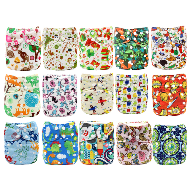 AIO Diaper Cloth Diapers Baby All In One Adjustable Nappy AI2 Waterproof One Size Washable Nappy Breathable Bamboo Cotton Insert