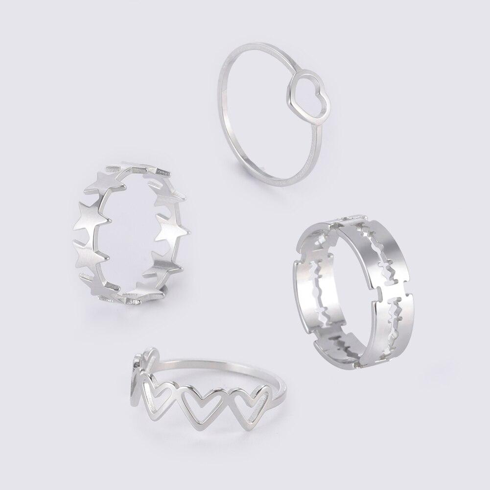 Teamer Women Ring Stainless Steel Heart Pentagram Blade Rings Men Couple Fashion Minimalist Jewelry Accessories Wedding Gifts