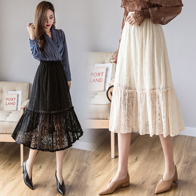 2019 Spring Clothing New Style Korean-style Sweet Lace Flounced Elastic Waist Hugging Slimming Skirt Women's