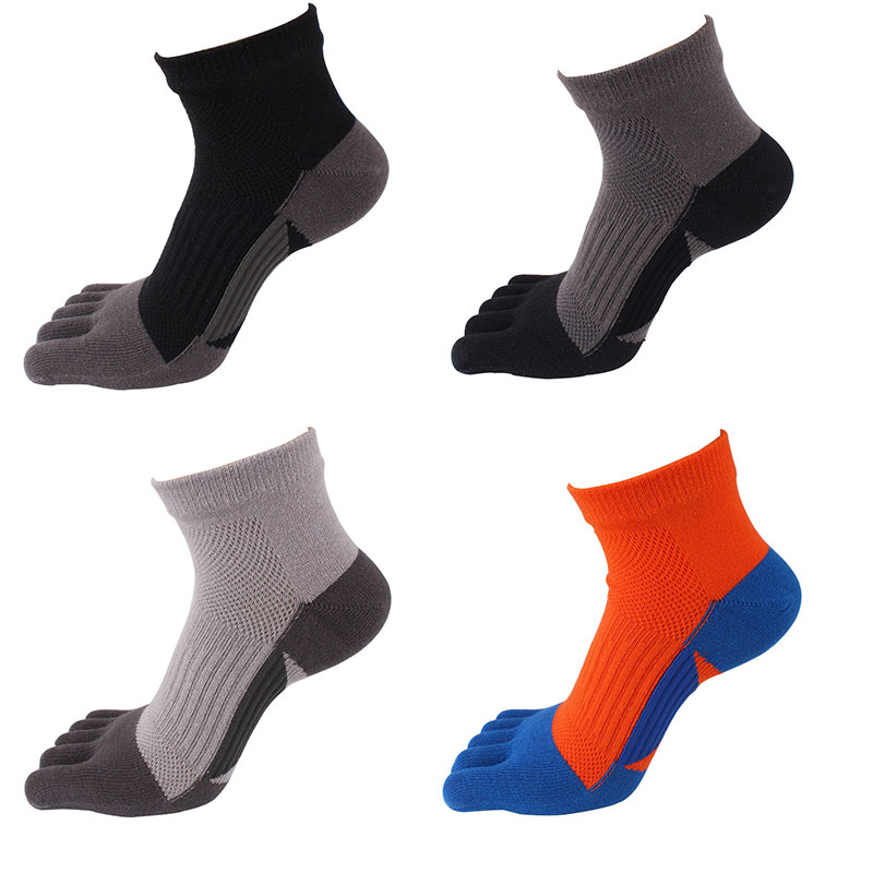 Men Five Toe Sports Socks Breathable Deodorant Sweat Absorbent Cotton Socks Running Cycling Workout Fitness Socks