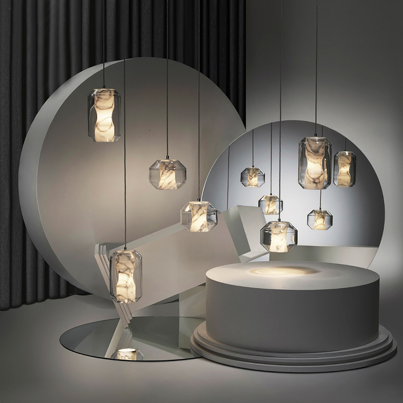 Europe Lamps And Lanterns Post Modern Concise Bar Counter Originality Hotel Bedroom Bedside Single Head Marble A Chandelier