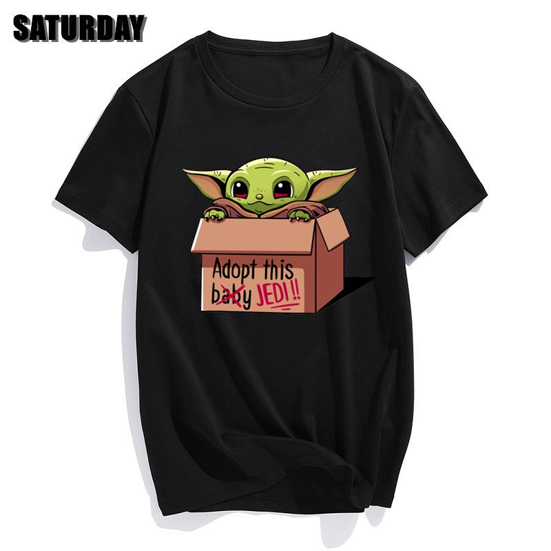 Cute Baby Yoda Tees Men's Casual Pure Cotton T Shirt Round Collar Short Sleeve Star Wars The Mandalorian Jedi T-Shirt Gift Tops
