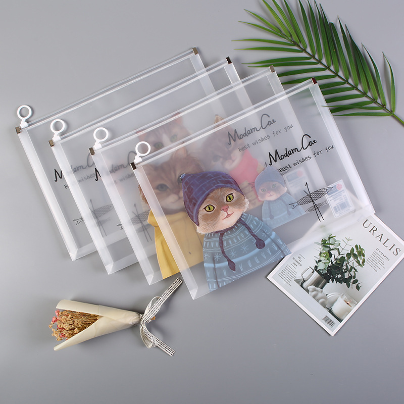 Cute Cartoon Animal Rings Plastic File Bag Zipper Bag Creative Cat Hipster Storage Bag Office Stationery
