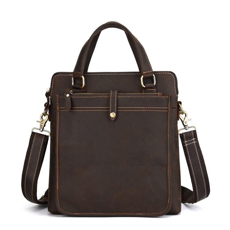 Casual Men Business Bag Crazy Horse Cow Leather Shoulder Bag Male Office Handbag Document Case Business Bag Laptop Bag