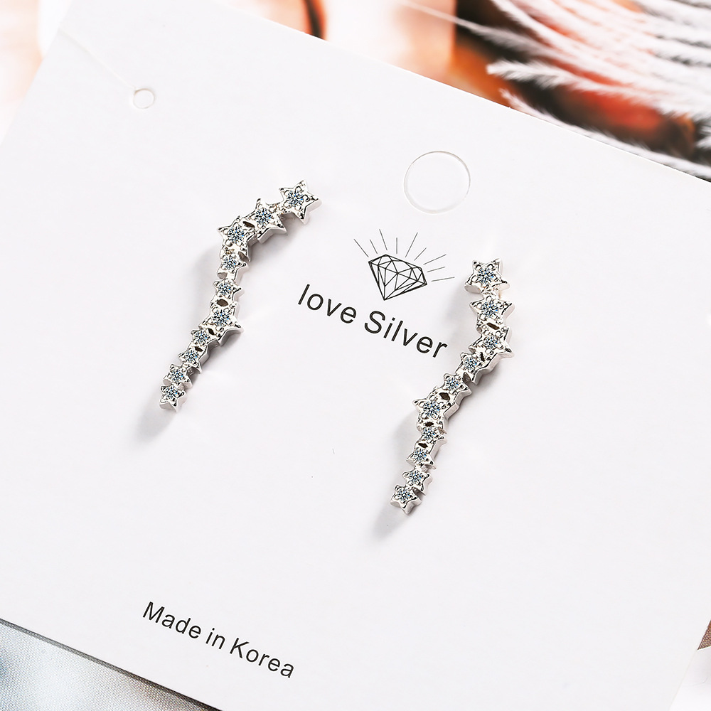 925 sterling silver earrings cubic zirconia five-pointed star long Korean style small fresh sweet five-pointed star 925 sterling