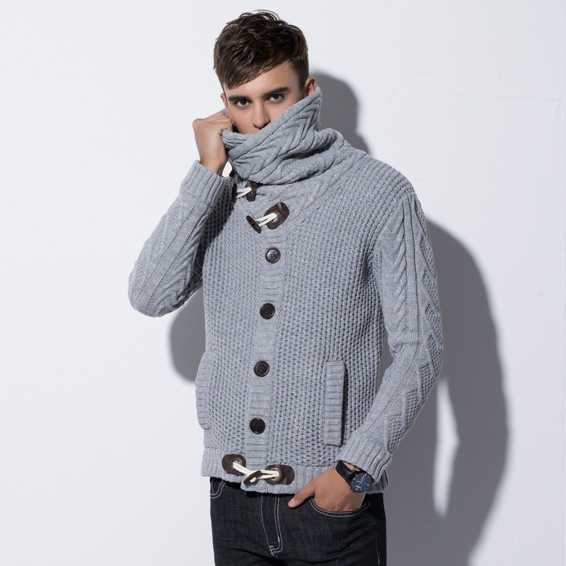 Mens Sweaters 2019 Autumn Winter New Mens Long Sleeve Sweater Turtleneck Men Cardigan Button Knit Sweater Coatstide Warm KK3074