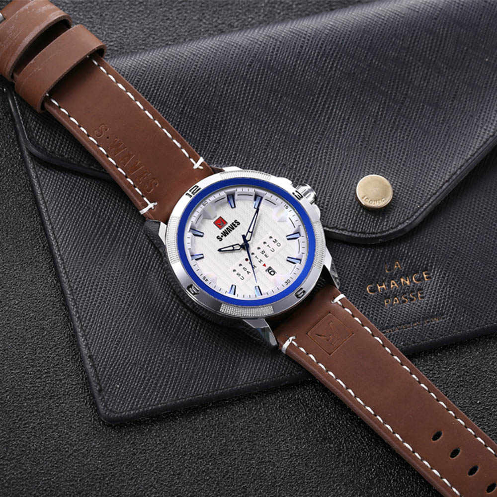 SWAVES Luxury Watches Mens 2019 Sport Unique Waterproof Watch Men Silver Blue Military Leather Belt Fashion Relogio Masculino