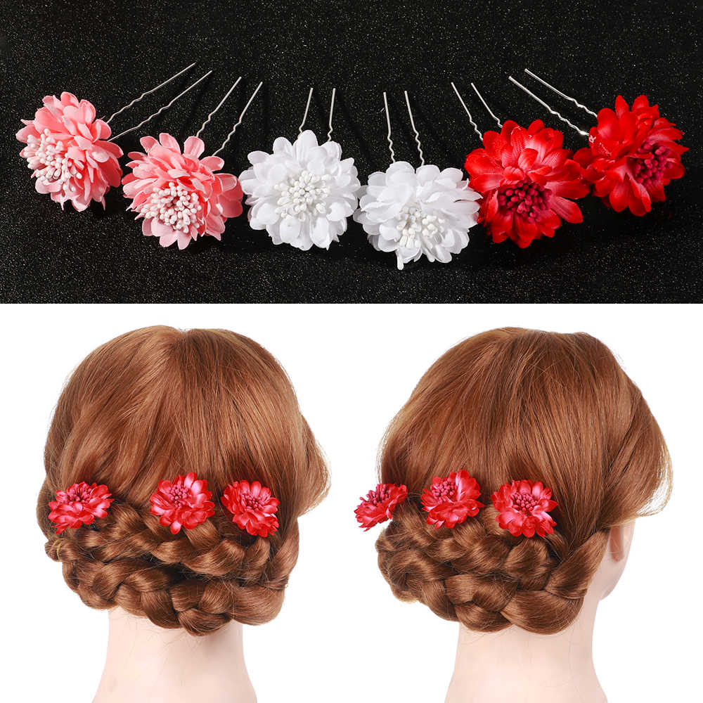 Neue Hochzeit Kopfschmuck 2Pcs Weiß Rot Rosa Blume Haar Kämme Haarnadeln Frau Mädchen Brautjungfer Headwear Partei Schmuck Zubehör