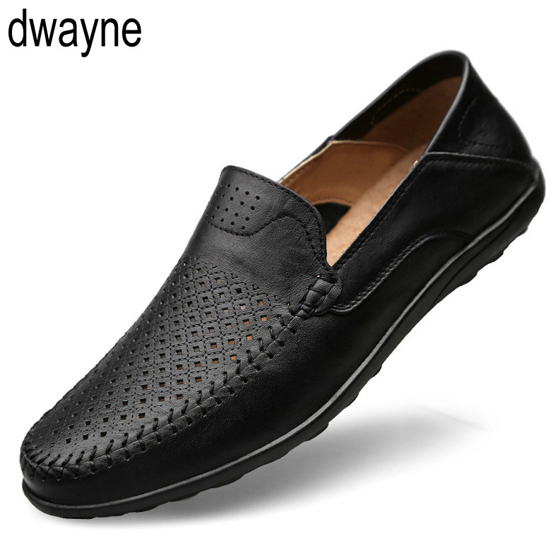 Italian Mens Shoes Casual Luxury Brand Summer Men Loafers Genuine Leather Moccasins Comfy Breathable Slip On Boat Shoes 2019