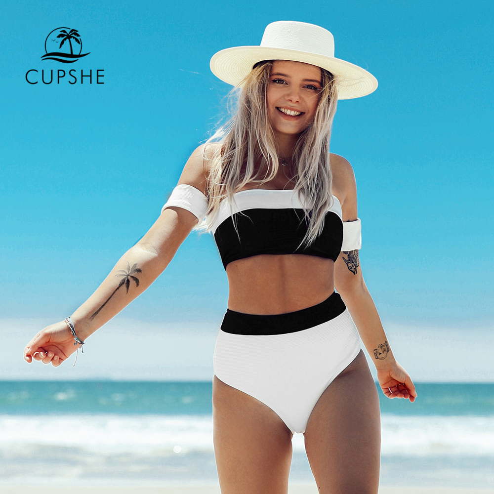 CUPSHE Black And White Bandeau Top High-Waitsed Bikini Sexy Swimsuit Two Pieces Swimwear Women 2020 Beach Bathing Suits