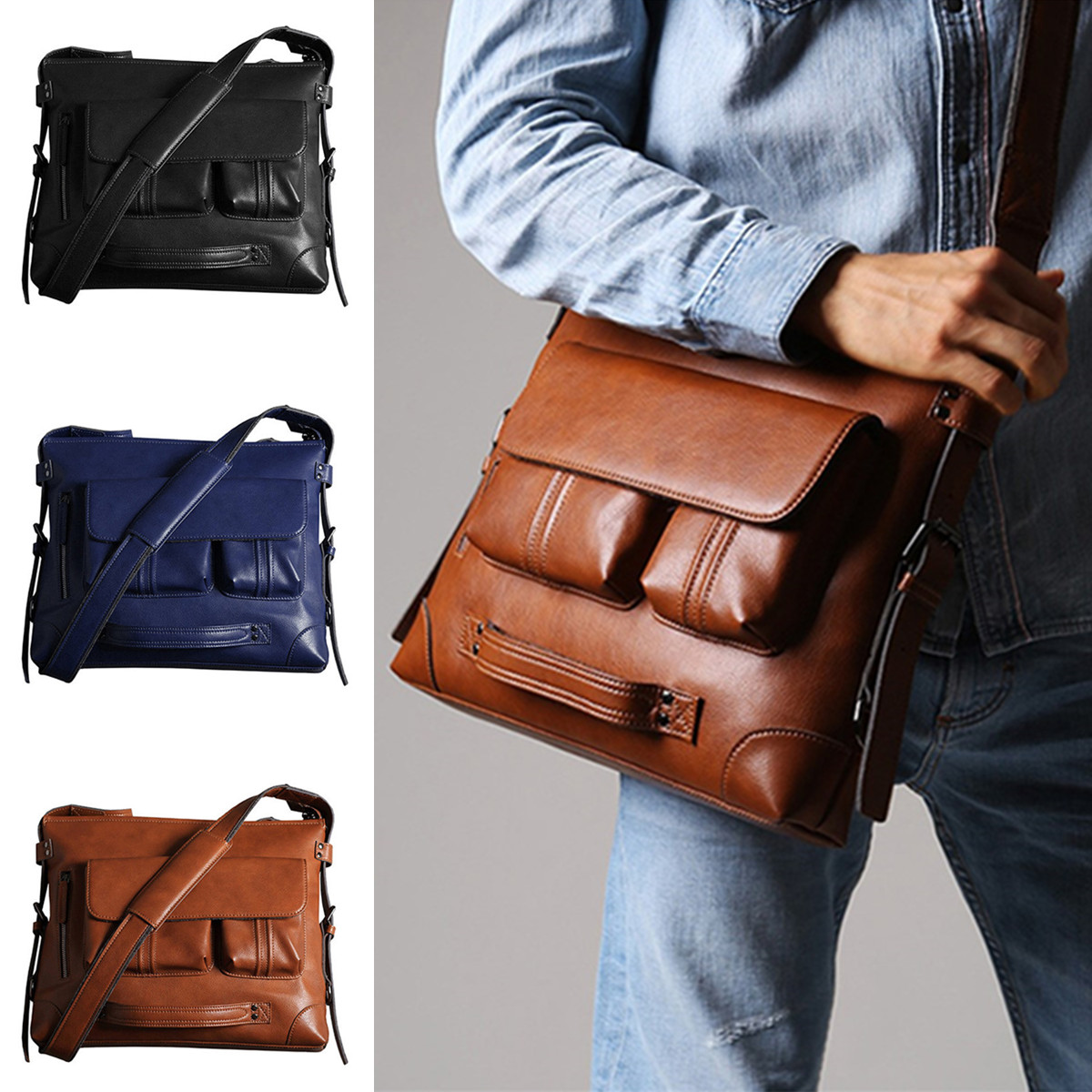 New Men's Briefcase Bags For Laptop Man Business Bag 2Pcs Set Backpack Handbags High Quality Leather Office Shoulder Bags Tote