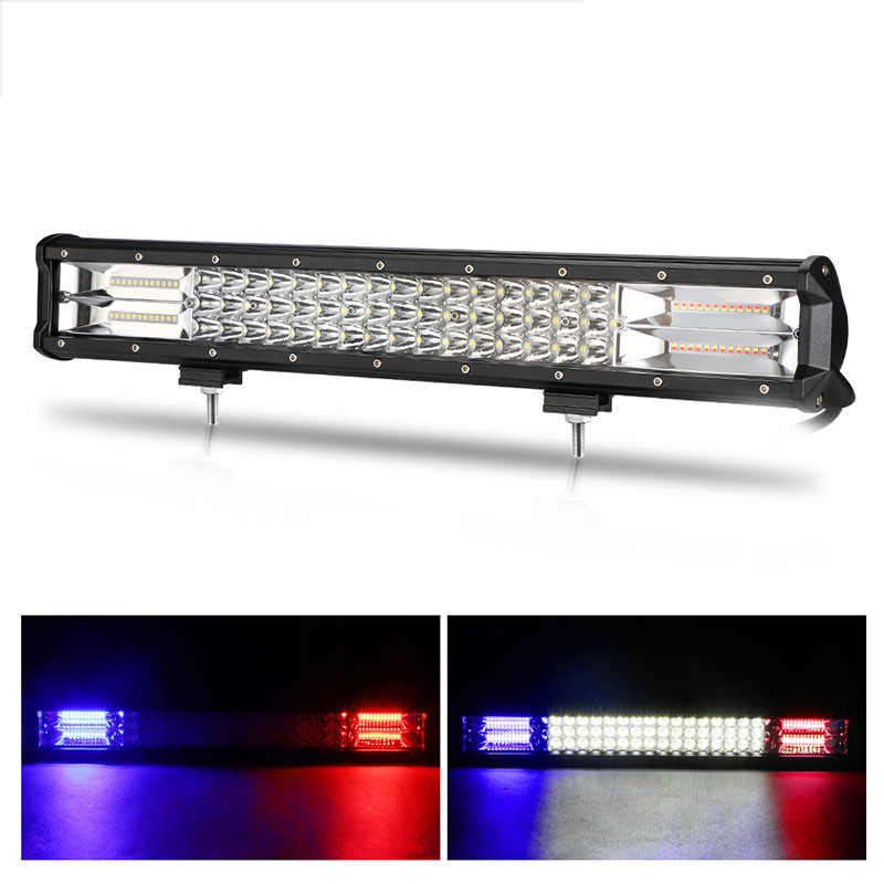 Triple Row 20 inch 288W LED  bar 24V 12V Tricolor Combo Offroad Driving Light Lamp for Tractor 4WD 4x4 Truck LED Work Light Bar