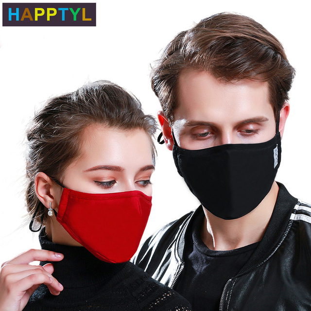 HAPPTYL Cotton PM2.5 Black mouth Mask Activated carbon filter Mouth-muffle Face masks Care