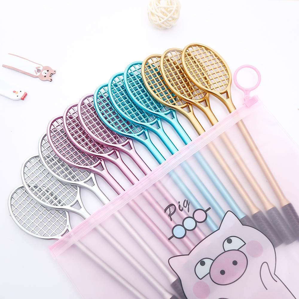 12Pcs/pack Novelty Fun Cool Badminton Gel Pens Blue Ink Racket Anime Stationery Cute Kawaii Stationary Pencil Case Bag Material