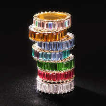 Sterling Silver 925 thin gold ring line micro pave cz eternity 9 colors stack 925 silver rainbow cz women rings(China)
