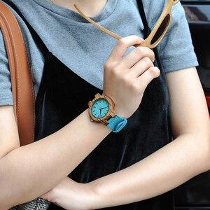Image 3 - ボボ鳥女性男性腕時計ブルーレザーストラップカップルクォーツ腕時計愛好家のギフト時計木製腕時計ボックスドロップシップリロイhombre