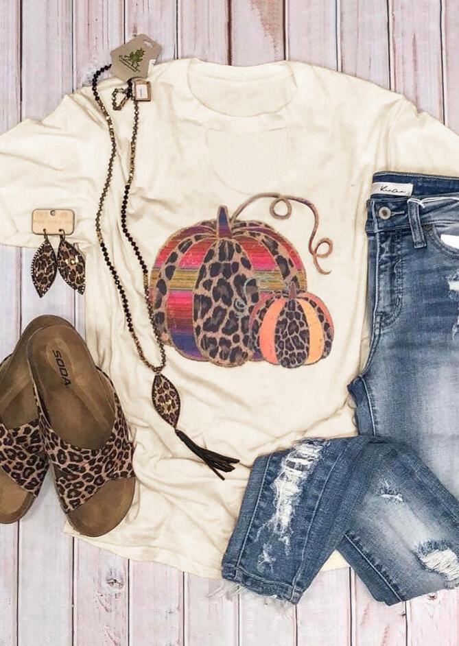 Female Halloween Leopard Printed Pumpkin Luxury Graphic T-Shirt Tee Beige Women Harajuku Ulzzang 90s Aesthetic Tops Plus Size